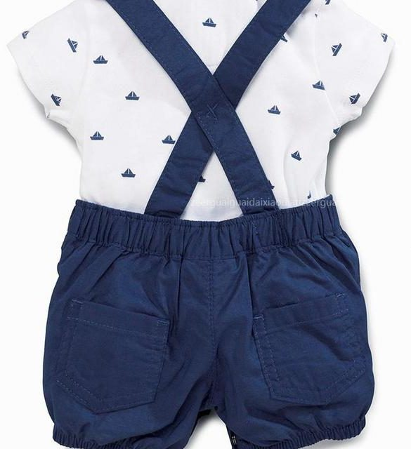 Baby Boy's Cotton Rompers and Short Sleeve Shirt Set