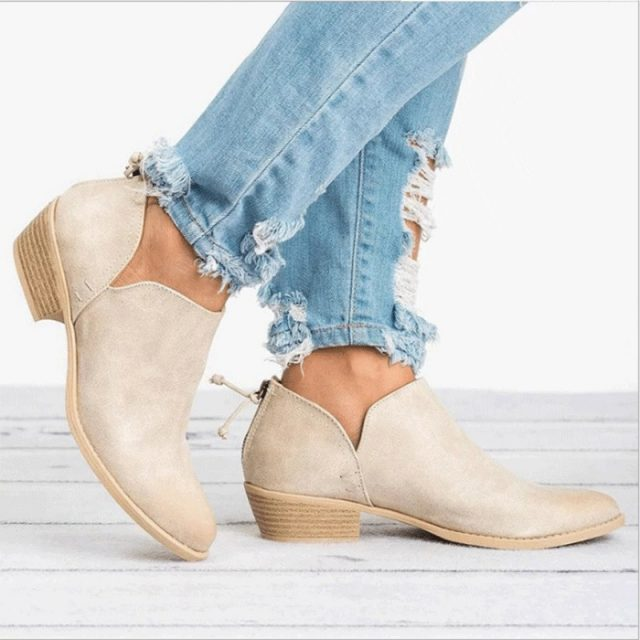 Women's Causal Leather Ankle Boots