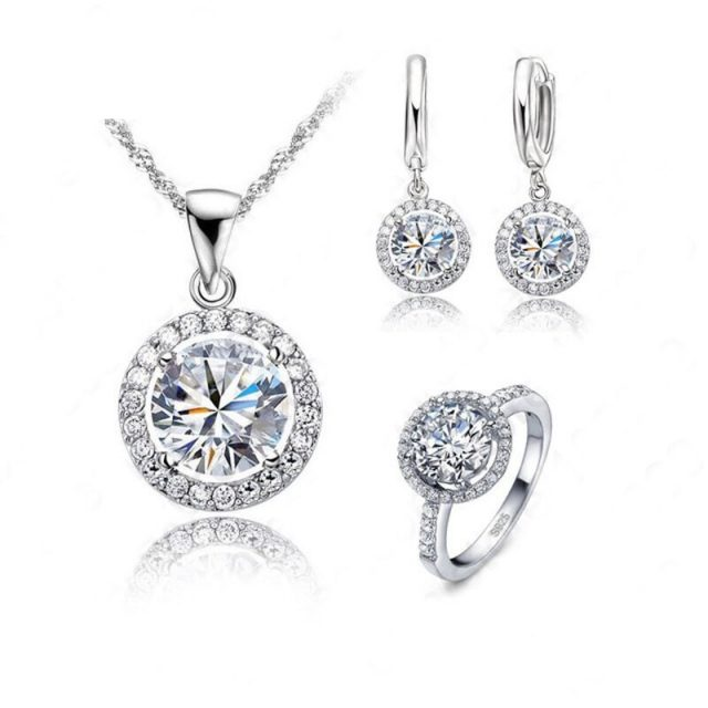 Women's Sterling Silver Necklace, Earrings and Ring Set with Crystals
