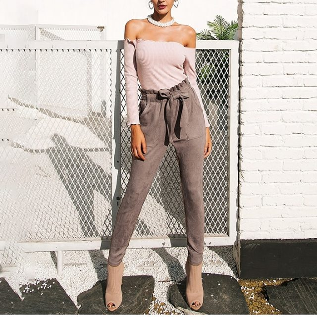 Women's Velvet High Waist Pencil Pants