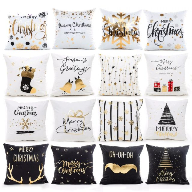 45x45cm Cotton Linen Merry Christmas and Happy New Year Cushion Cover