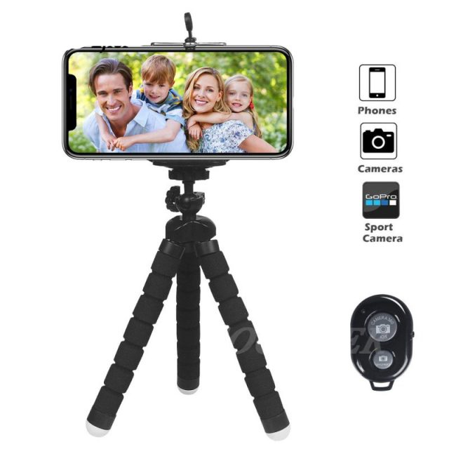Flexible Sponge Octopus Mini Tripod With Bluetooth Remote Shutter For iPhone and Camera